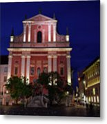 Pink Facade Of Franciscan Church Of The Annunciation Next To Urb Metal Print