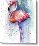 Pink Flamingo Watercolor Metal Print