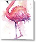 Pink Flamingo Watercolor Tropical Bird Metal Print