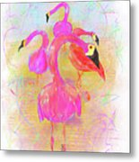 Pink Flamingos In The Park Metal Print