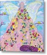 Pink Flower Angel Metal Print