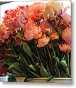Pink Flowers At The Market Metal Print