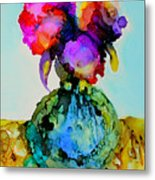 Pink Flowers In A Vase Metal Print
