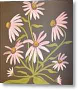 Pink Flowers With Brown Background Metal Print