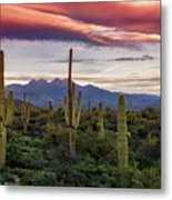 Pink Four Peaks Sunset  Metal Print