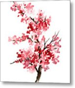 Cherry Blossom, Pink Gifts For Her, Sakura Giclee Fine Art Print, Flower Watercolor Painting Metal Print