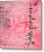 Pink Gray Abstract Metal Print