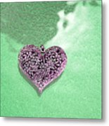 Pink Heart On Frosted Glass Metal Print