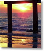 Pink Heart Sun Flare Clearwater Sunset Metal Print