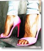 Pink Heels Metal Print
