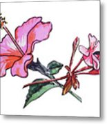 Pink Hibiscus And Geranium  Metal Print