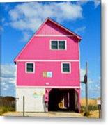 Pink House On The Beach 3 Metal Print