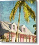 Pink House Palm Metal Print
