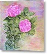 Pink Hydrangeas And Hostas Metal Print