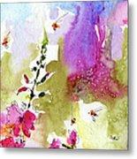 Pink Lavatera Floral Painting 1 Metal Print