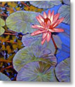 Pink Lily With Silver Pads Metal Print