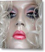Pink Lips And Aloof Metal Print