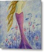 Pink Mermaid In Her Garden Metal Print
