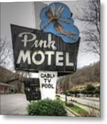 Pink Motel Sign Maggie Valley North Carolina Metal Print