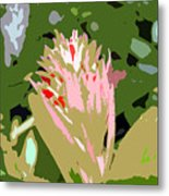 Pink On Green Work Number 6 Metal Print