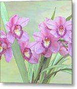 Pink Orchid Photo Sketch Metal Print