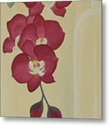 Pink Orchide In A Vase Metal Print