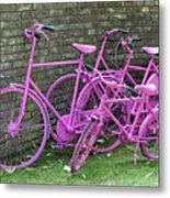 Pink Painted Bikes And Old Wall Metal Print