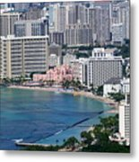 Pink Palace Waikiki Honolulu Metal Print