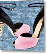 Pink Patent Leather With Sculpted Metal Heels Metal Print