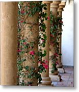 Pink Peacock Colored Bougainvillea Blossoms Climbing Pillars Photograph By Colleen Metal Print