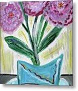 Pink Peonies-gray Table Metal Print
