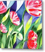 Pink Poppies Batik Style Metal Print