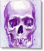 Pink Purple Skull Metal Print