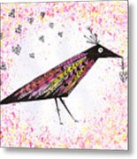 Pink Raven With Heart Metal Print