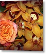 Pink Rose And Yellow Orchids Metal Print