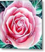 Pink Rose Flower Metal Print