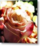 Pink Rose In Sparkling Lights Metal Print