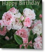 Pink Roses Birthday Card Metal Print