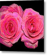 Pink Roses With Enameled Effects Metal Print