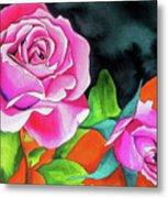 Pink Roses With Orange Metal Print