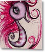 Pink Seahorse Metal Print