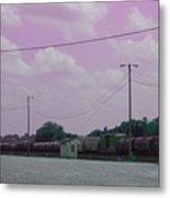 Pink Sky And Trains Metal Print