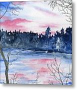 Pink Sky Reflections Metal Print
