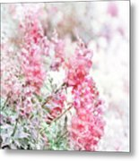 Pink Snapdragons Watercolor Metal Print