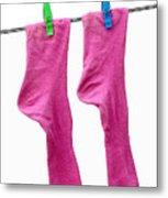 Pink Socks Metal Print