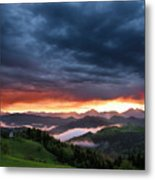 Pink Sunrise And Blue Clouds In The Mountains Of Kamnik Savinja  Metal Print
