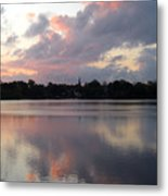 Pink Sunrise With Dramatic Clouds And Steeple On Jamaica Pond Metal Print
