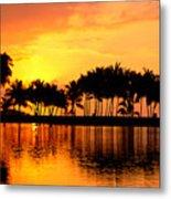 Pink Sunset And Palms Metal Print