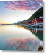 Pink Sunset Over A Lagoon In Norway Metal Print
