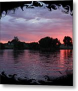 Pink Sunset Panorama With Black Framing Metal Print